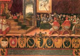 Pope Gregorius being addressed by the commission for calendar reform 1582-1583